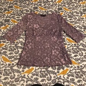 BCBGMaxAzria Purple Lace Blouse EUC Size M
